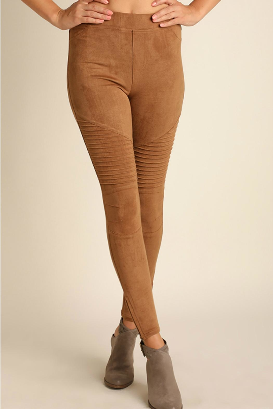 Umgee USA Suede Moto Jeggings - Front Cropped Image