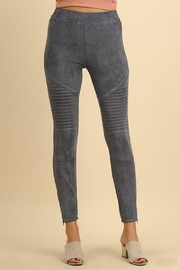 Umgee USA Suede Moto Jeggings - Front cropped