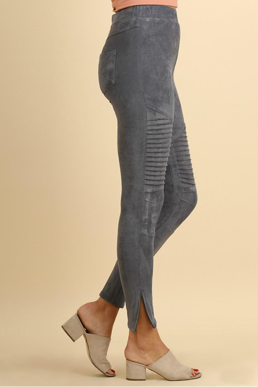 Umgee USA Suede Moto Jeggings - Front Full Image