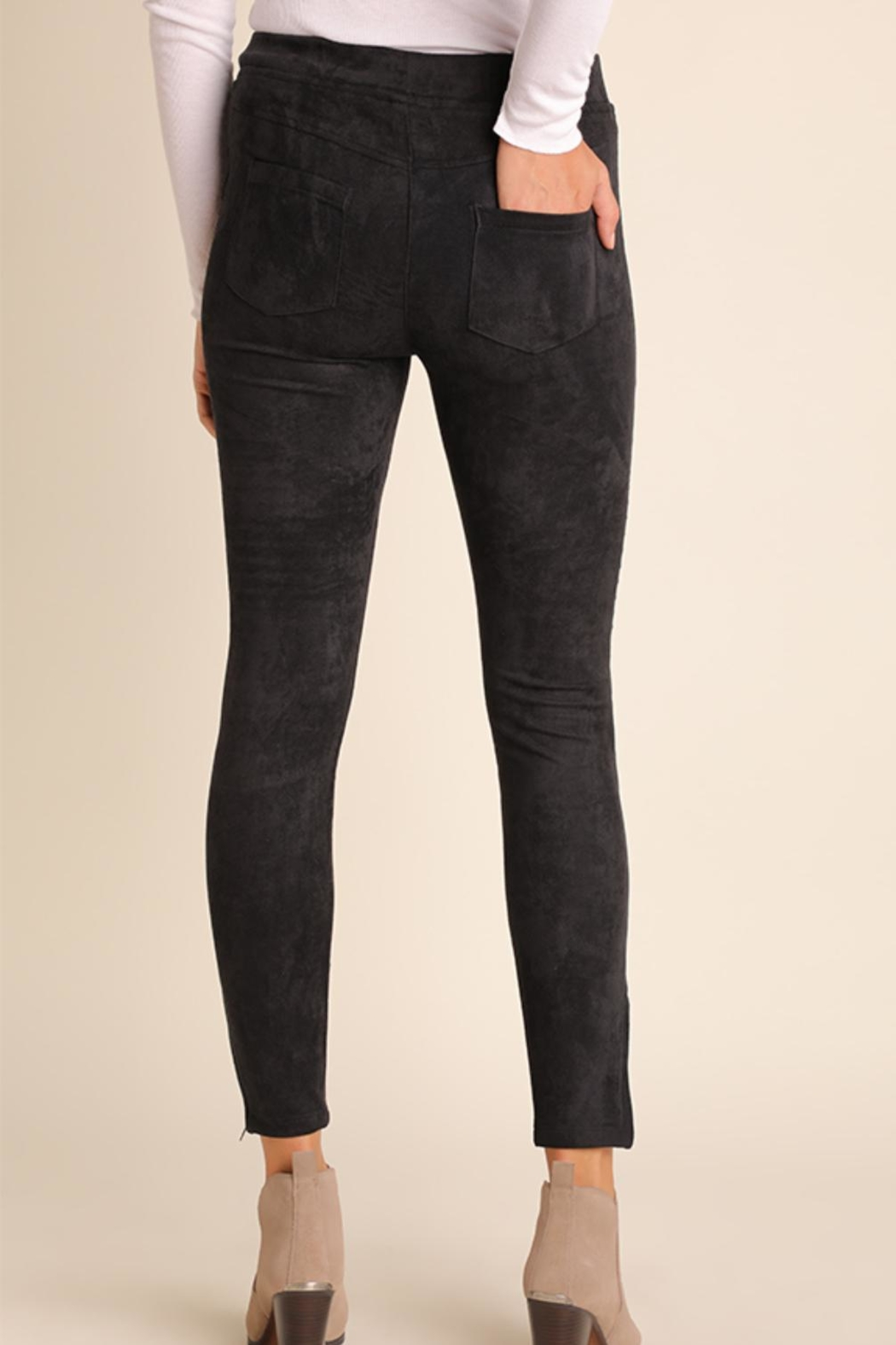 Umgee USA Suede Moto-Zipper Jeggings - Front Full Image