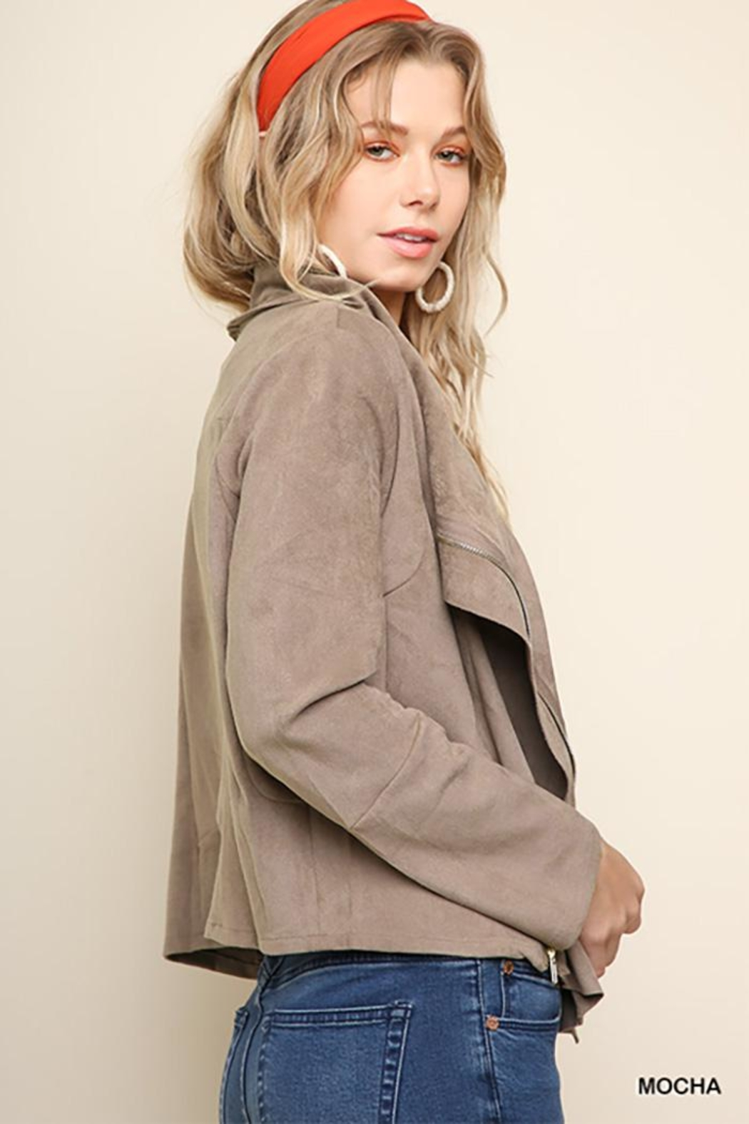 Umgee USA Suede Zip Up Moto Jacket - Side Cropped Image