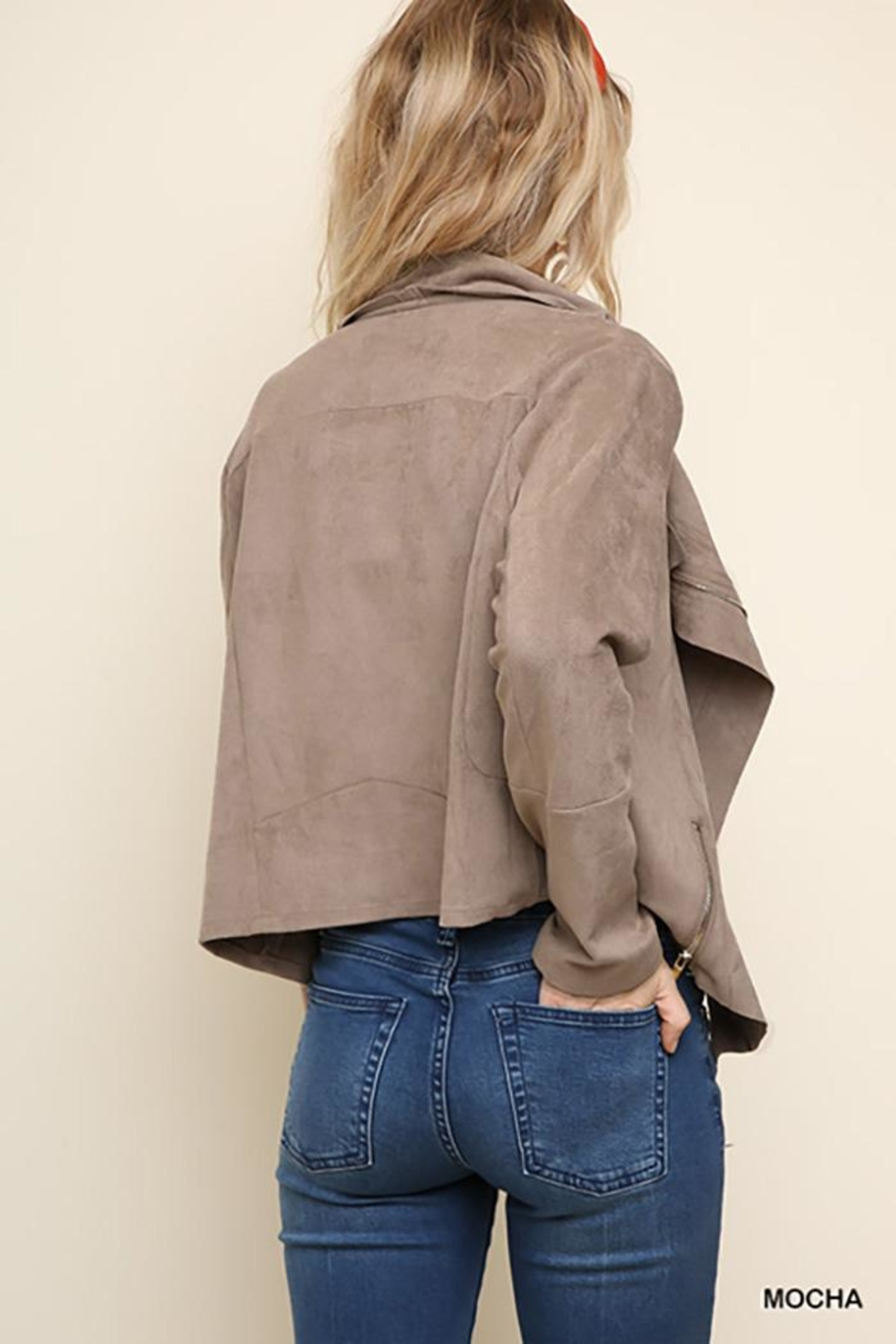 Umgee USA Suede Zip Up Moto Jacket - Front Full Image