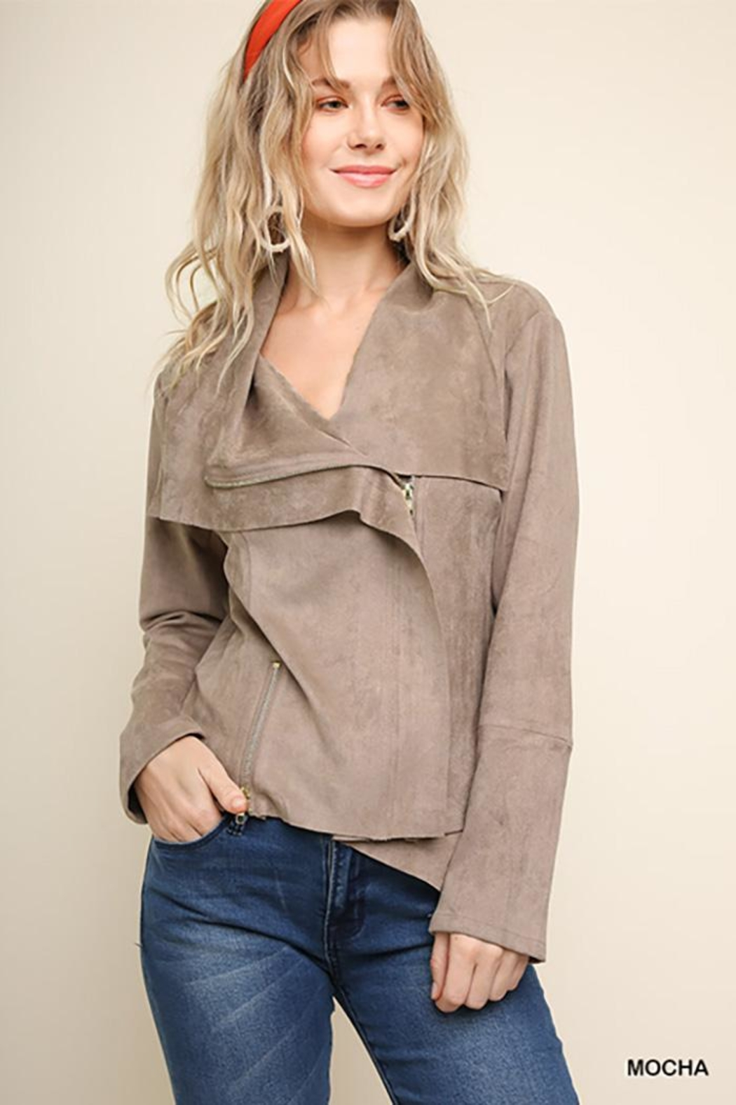 Umgee USA Suede Zip Up Moto Jacket - Front Cropped Image