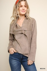 Umgee USA Suede Zip Up Moto Jacket - Front cropped