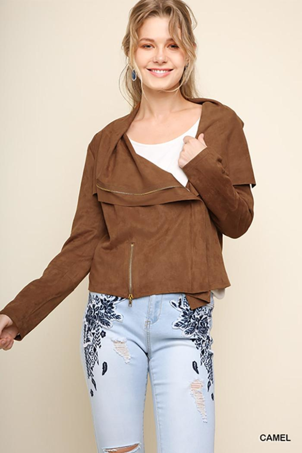 Umgee USA Suede Zip Up Moto Jacket - Main Image