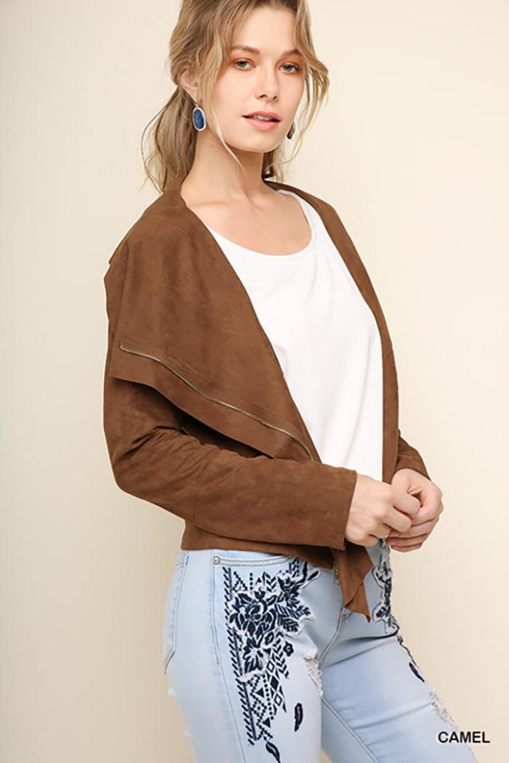 Umgee USA Suede Zip Up Moto Jacket - Back Cropped Image