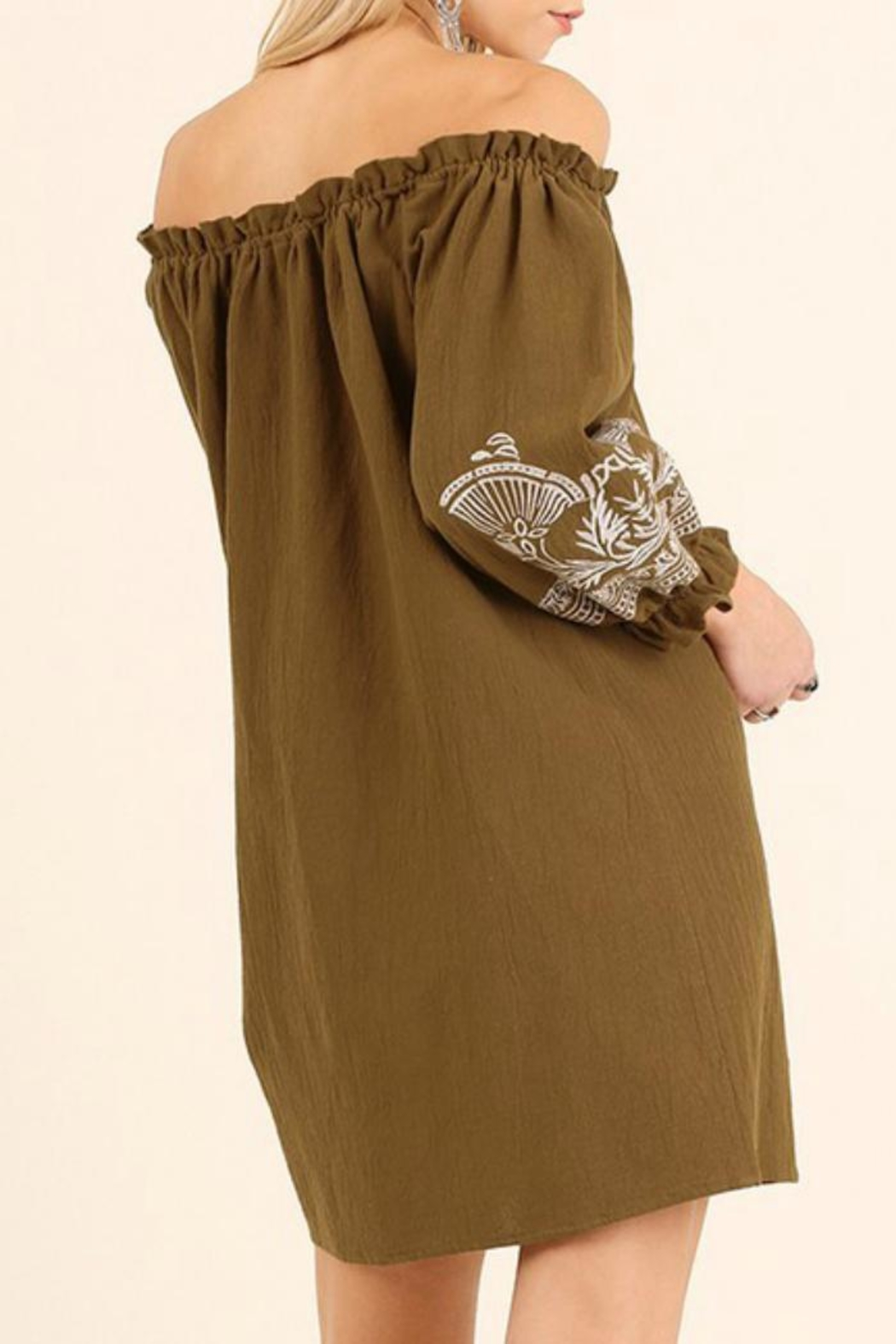 Umgee USA Tan Embroidered Dress - Front Full Image