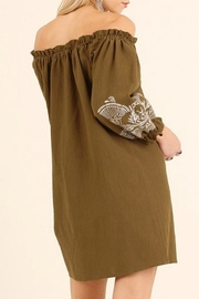 Umgee USA Tan Embroidered Dress - Front full body