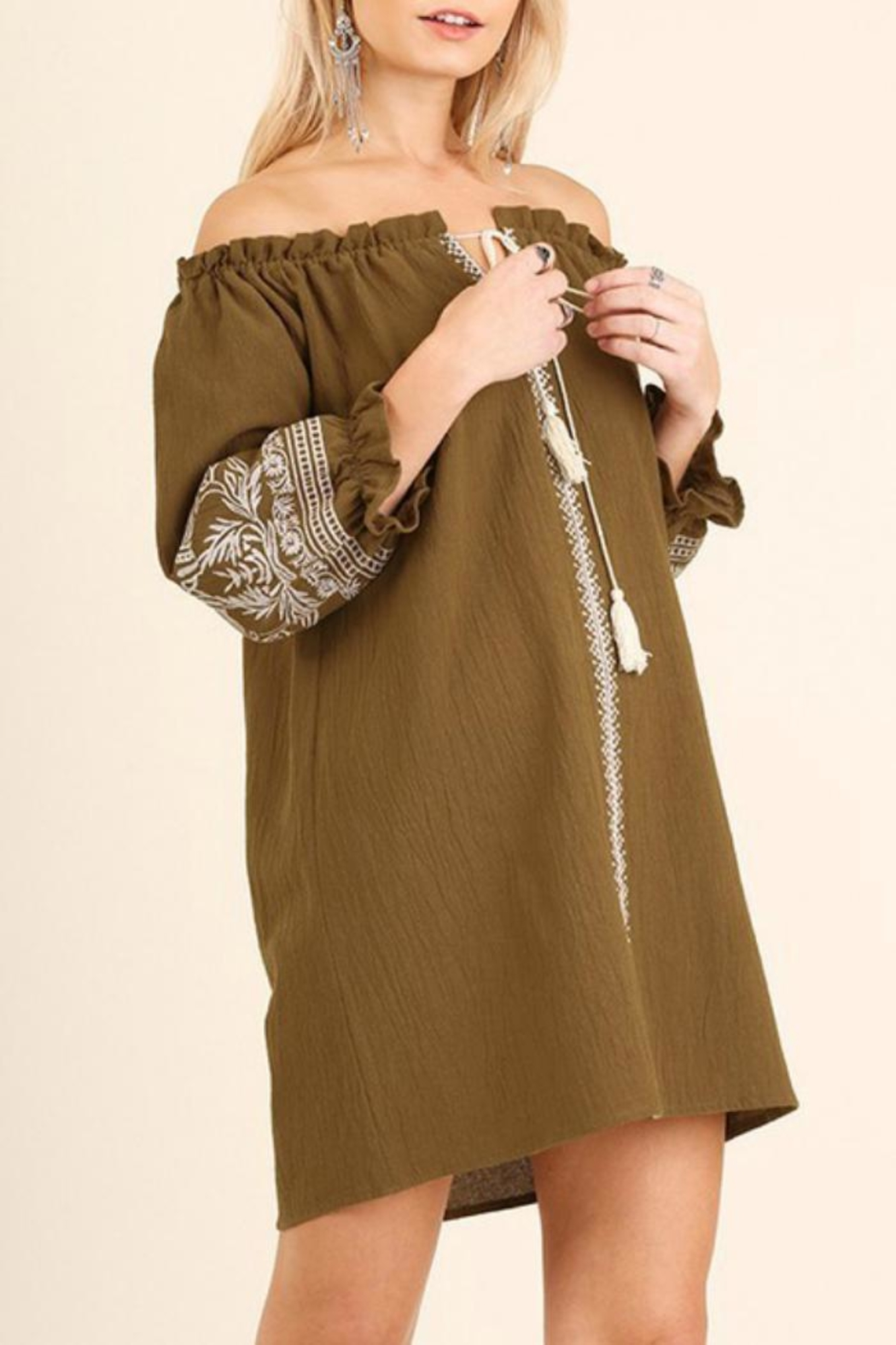 Umgee USA Tan Embroidered Dress - Front Cropped Image