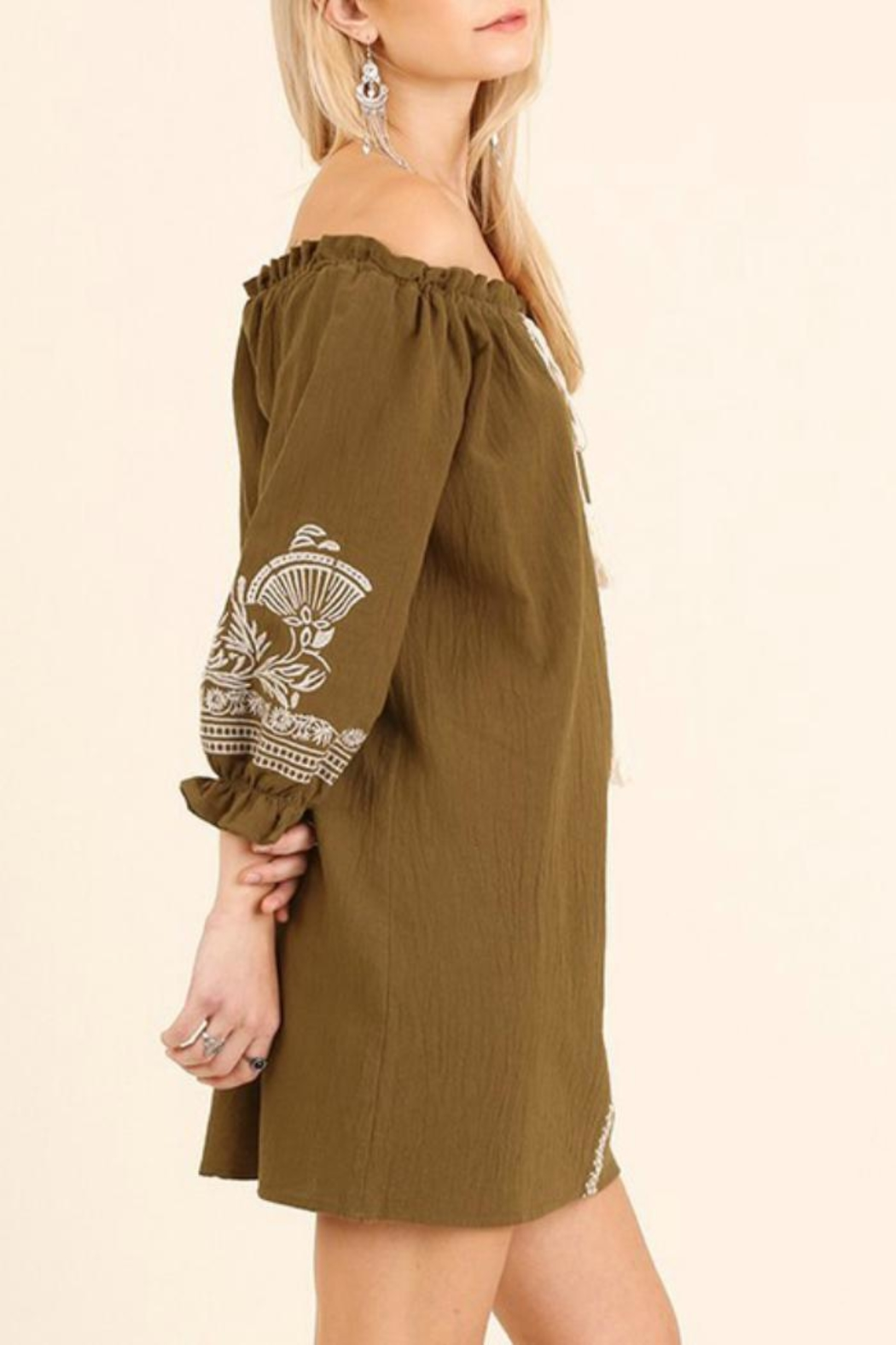Umgee USA Tan Embroidered Dress - Side Cropped Image