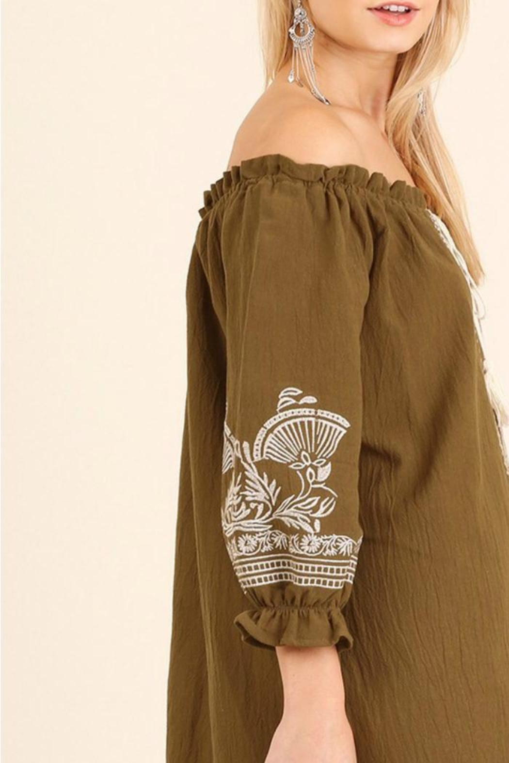 Umgee USA Tan Embroidered Dress - Back Cropped Image