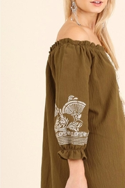 Umgee USA Tan Embroidered Dress - Back cropped