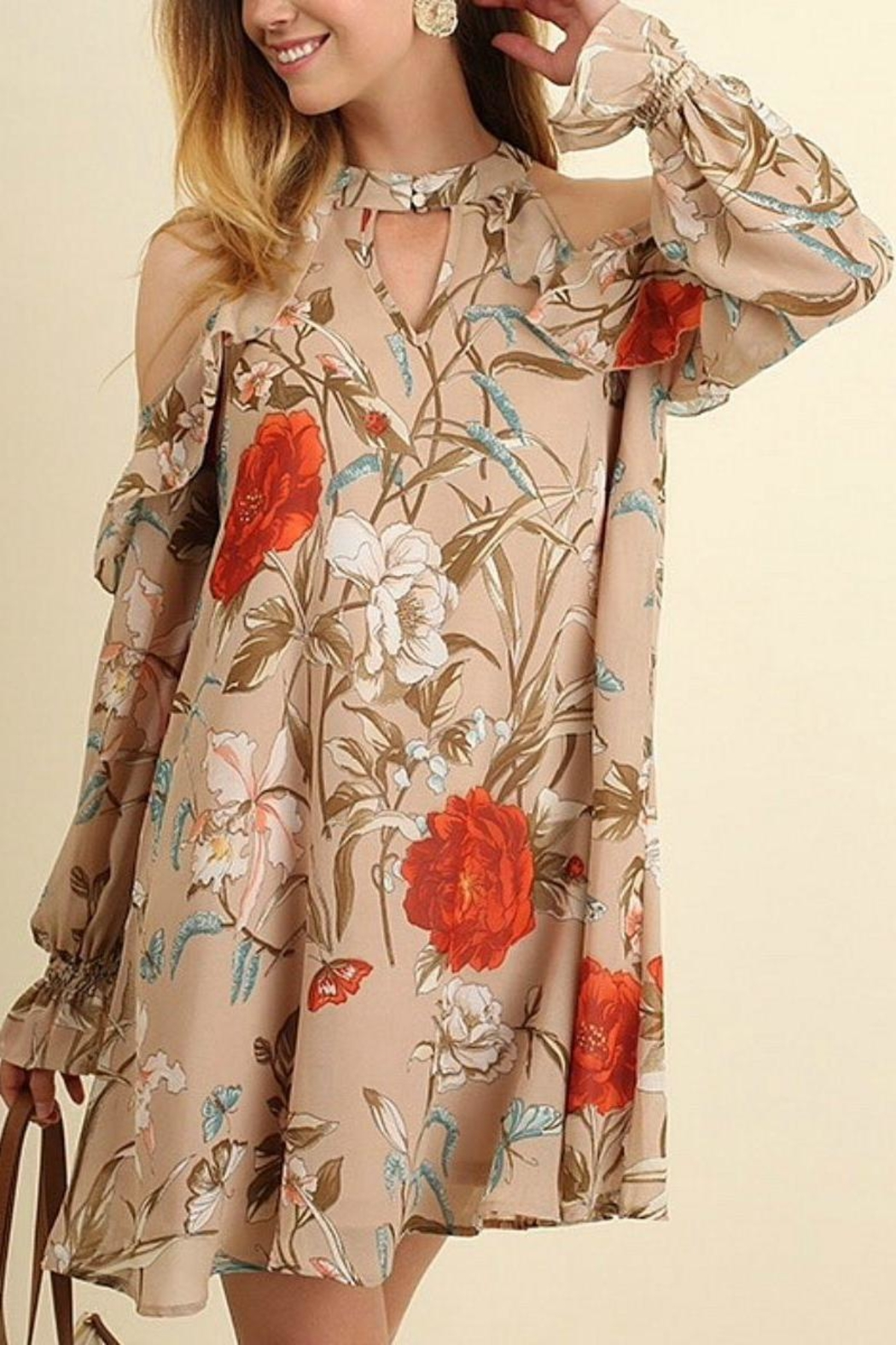 Umgee USA Tan Floral Dress - Front Cropped Image