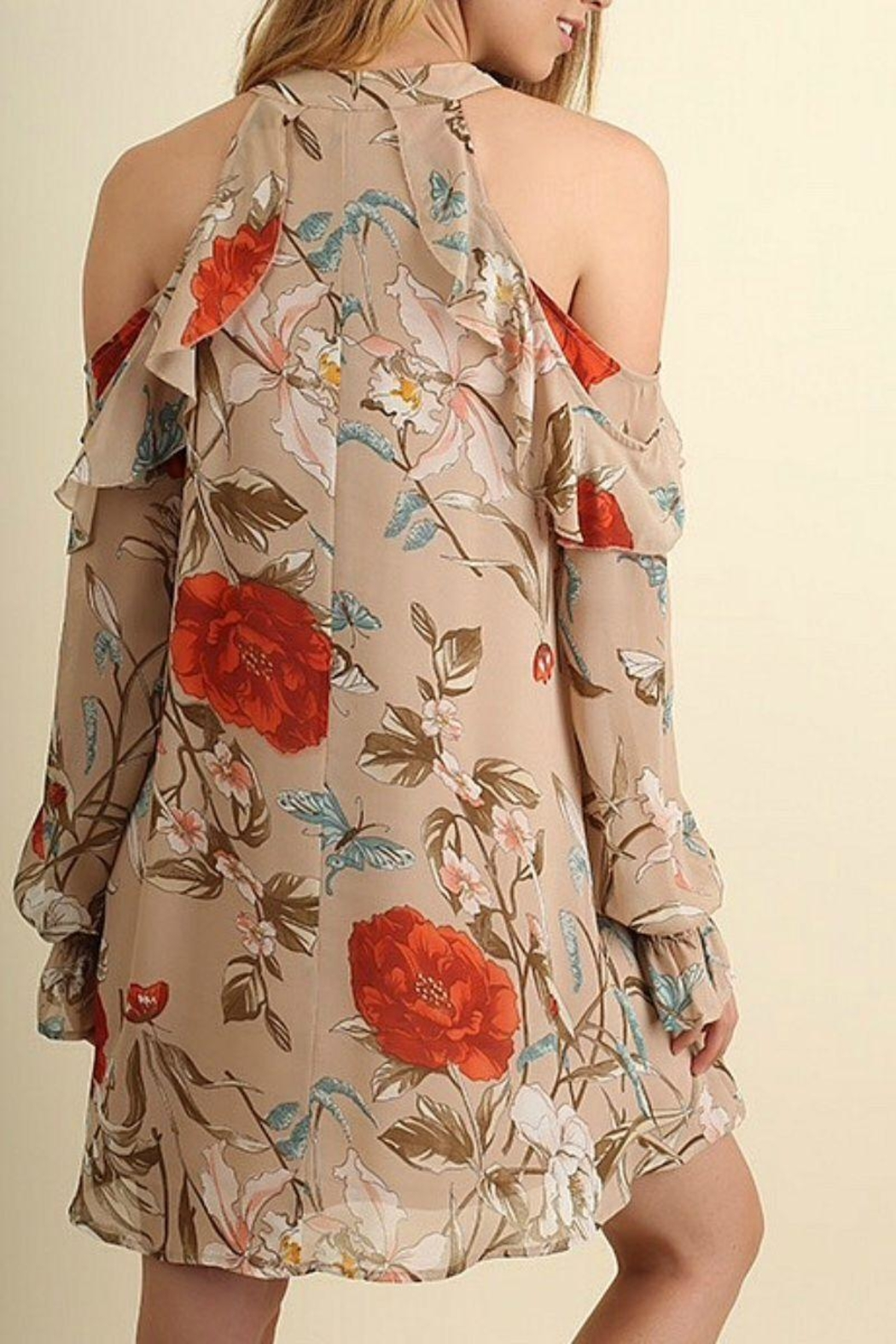 Umgee USA Tan Floral Dress - Front Full Image
