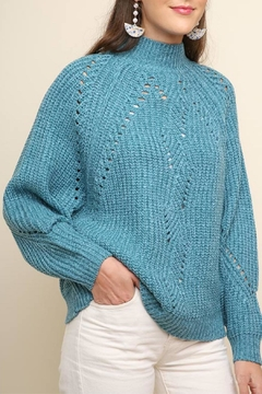 Umgee USA Teal Mock-Neck Sweater - Product List Image