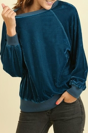 Umgee USA Teal Velvet Sweatshirt - Front full body