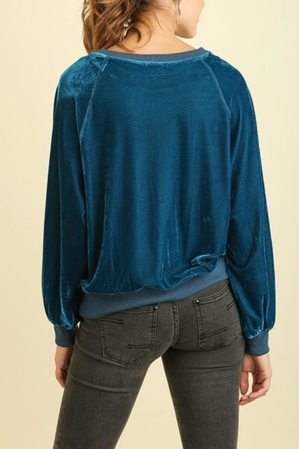 Umgee USA Teal Velvet Sweatshirt - Back Cropped Image