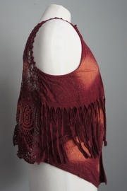 Umgee USA Tie-Dye Fringe-Lace Vest - Side cropped
