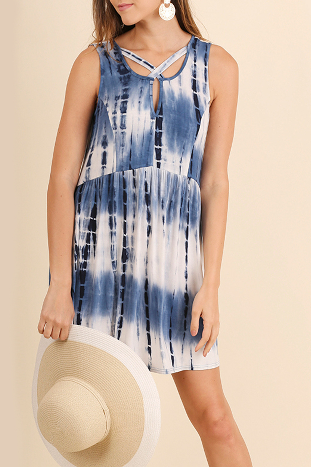 Umgee USA Tie Dye Pocket Dress - Front Cropped Image
