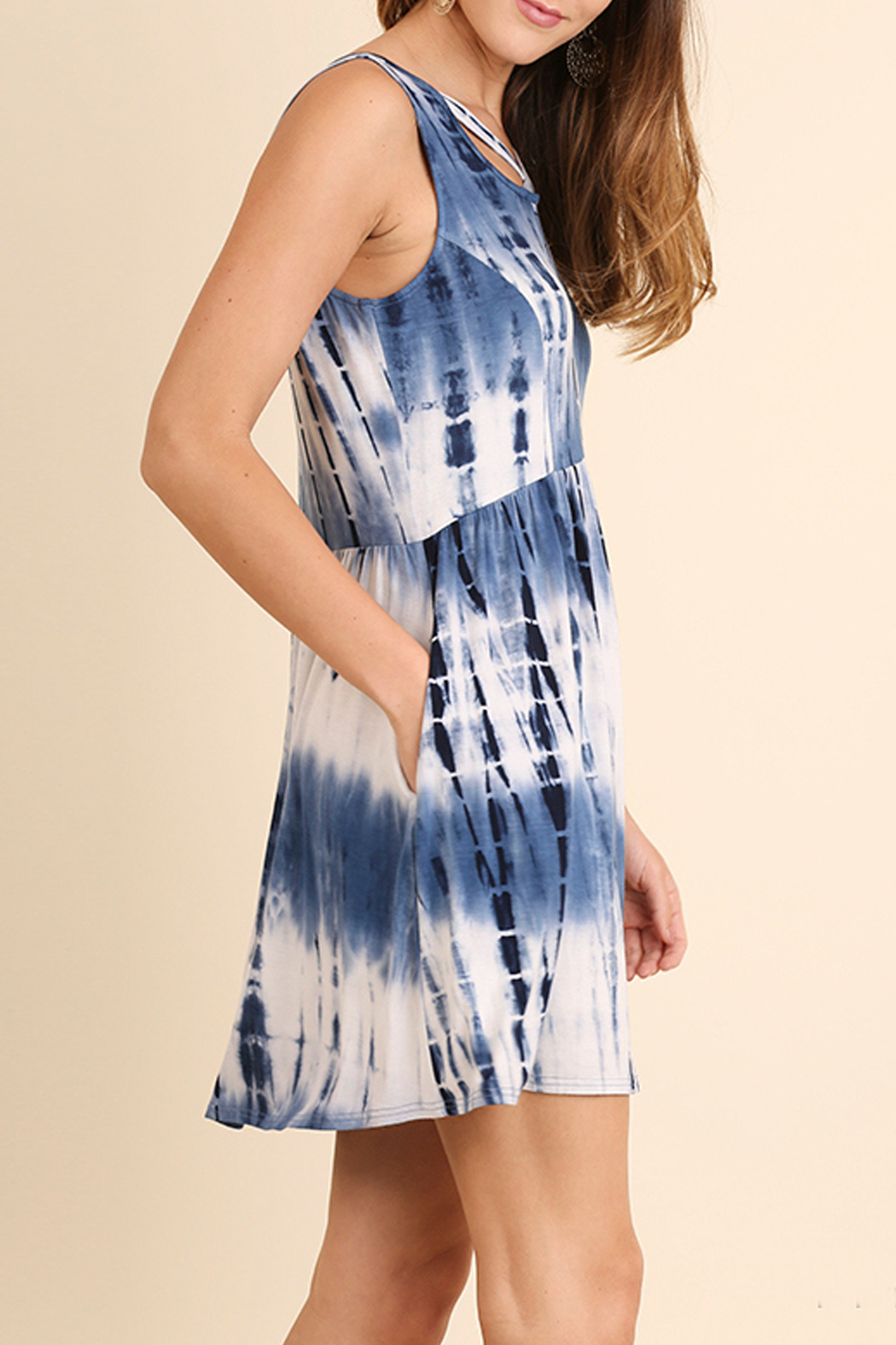 Umgee USA Tie Dye Pocket Dress - Front Full Image