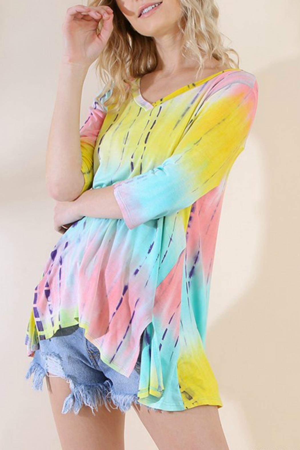 Umgee USA Tie-Dye Wendy Tunic - Front Cropped Image
