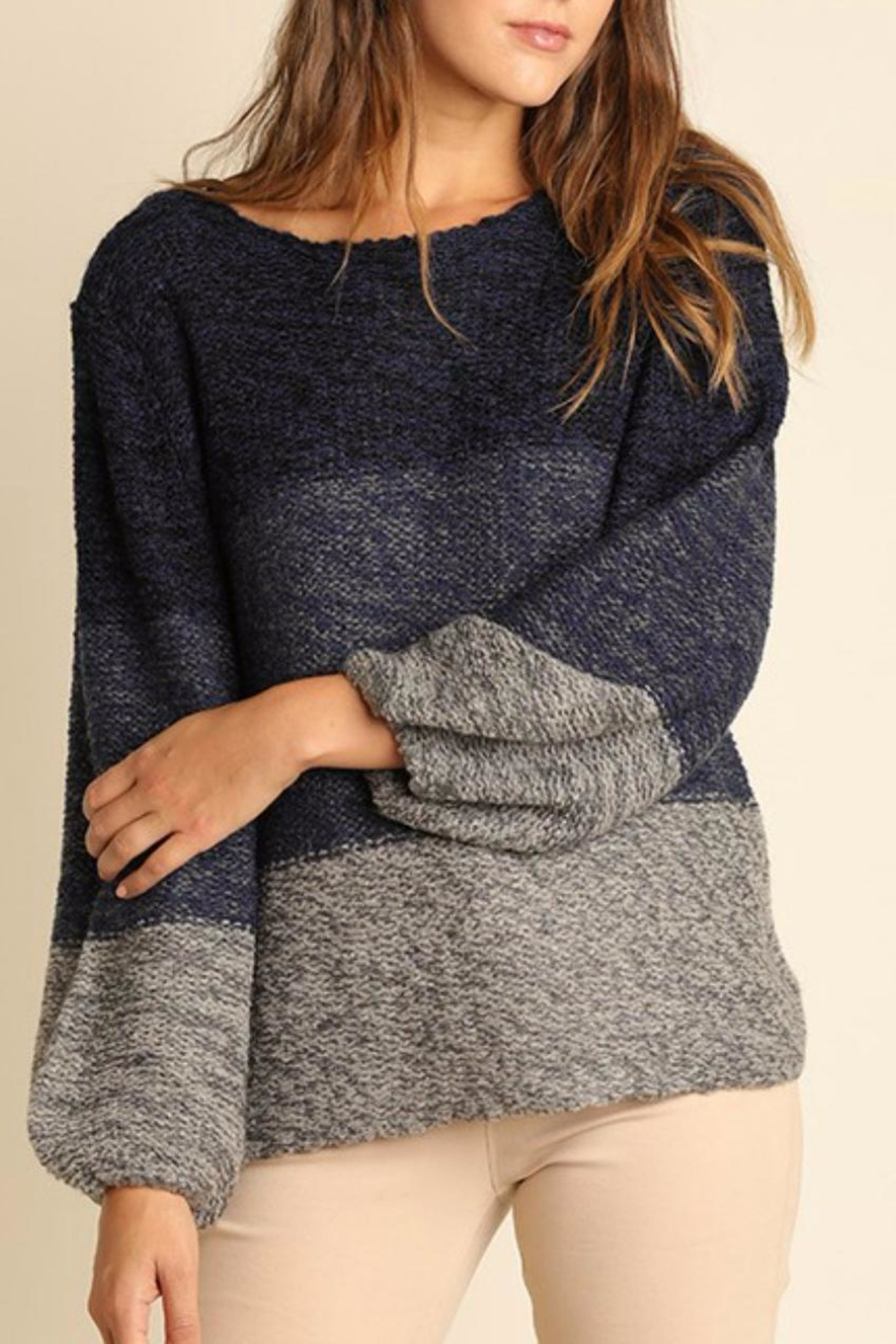 Umgee USA Tonal Cross Back Sweater - Main Image
