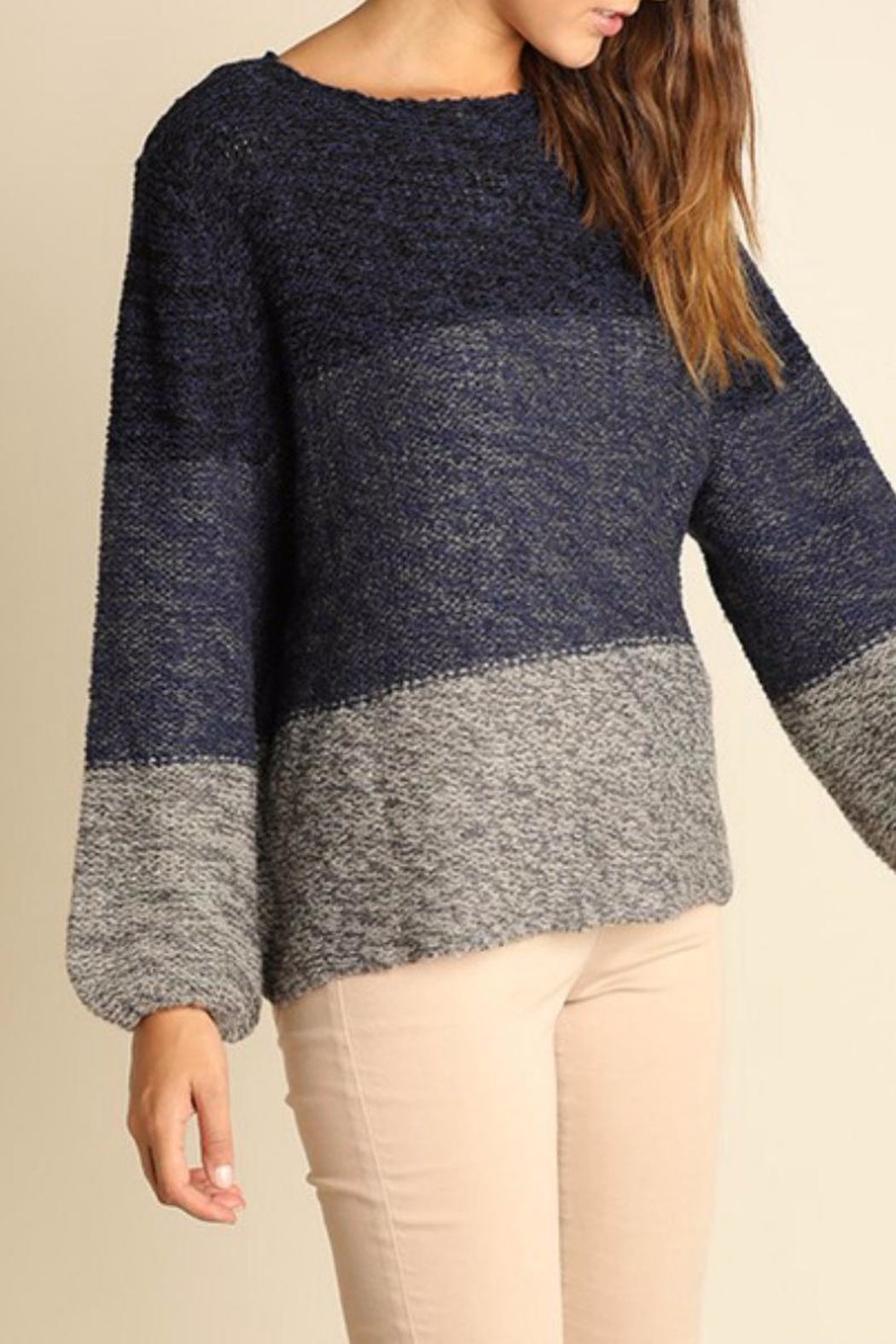 Umgee USA Tonal Cross Back Sweater - Front Full Image