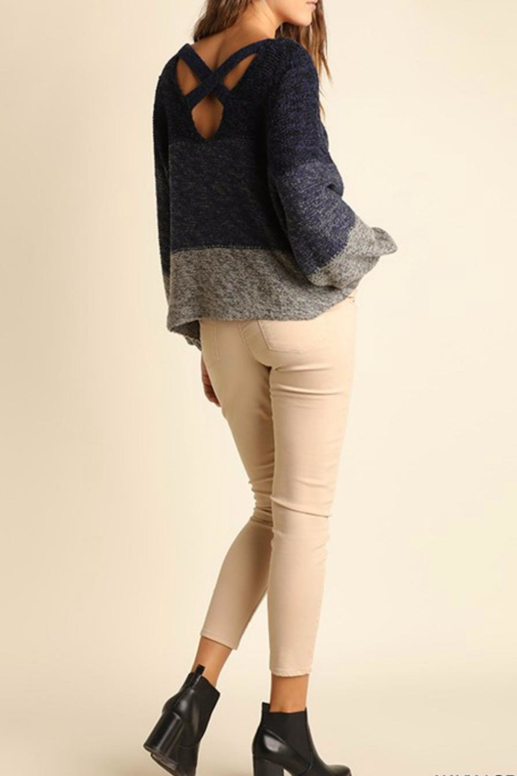 Umgee USA Tonal Cross Back Sweater - Side Cropped Image