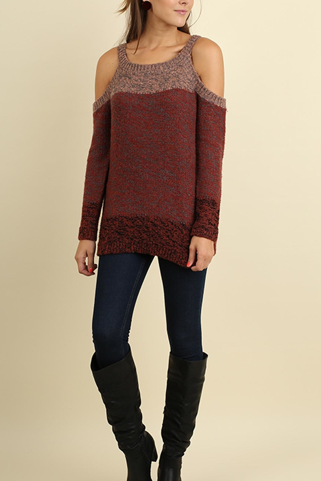 Umgee USA Tri-Tonal Sweater - Front Cropped Image