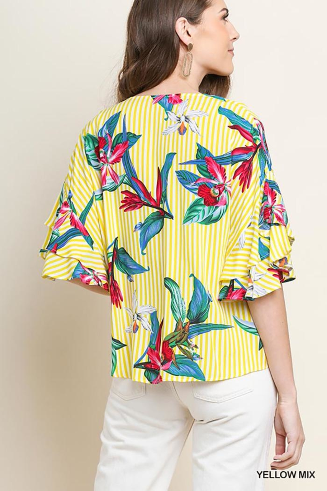 Umgee USA Tropical-Floral V-Neck Blouse - Front Full Image