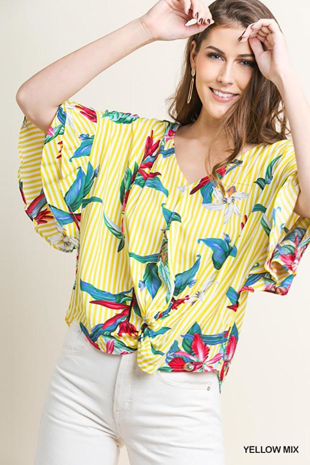 Umgee USA Tropical-Floral V-Neck Blouse - Main Image
