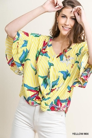 Umgee USA Tropical-Floral V-Neck Blouse - Front cropped