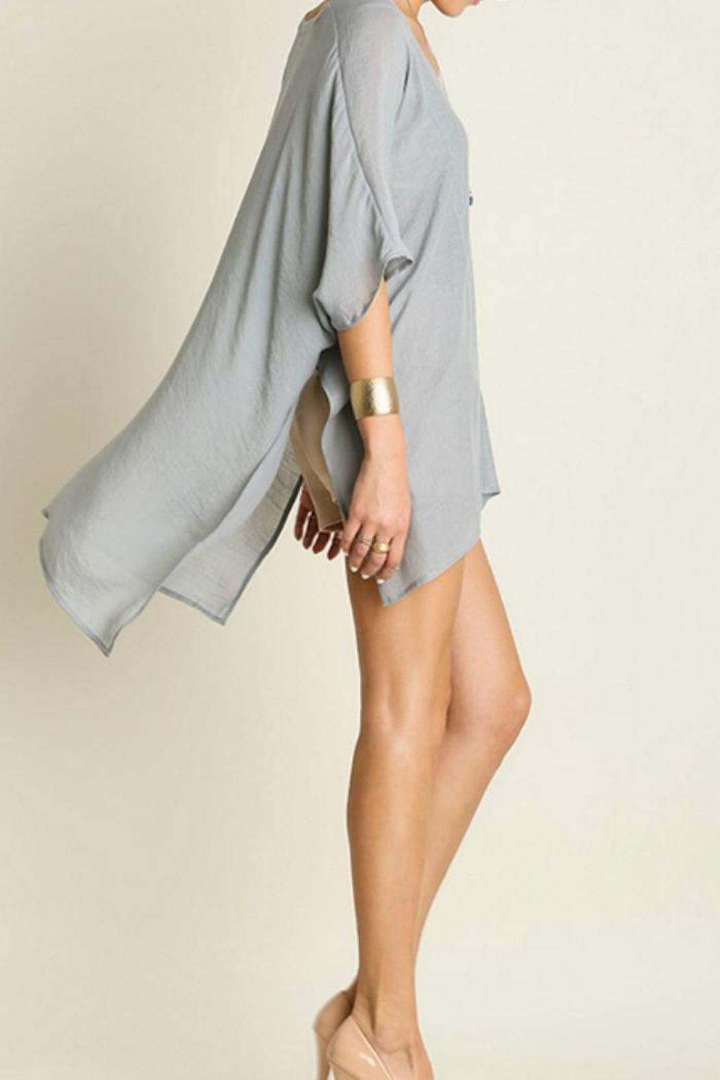 Umgee USA V-Neck Caftan - Back Cropped Image