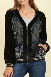 Umgee USA Velour Embroidered Zip-Up - Front cropped