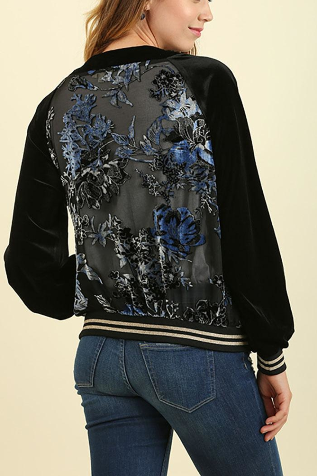 Umgee USA Velour Embroidered Zip-Up - Front Full Image