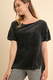 Umgee USA Velvet High Low Top - Front cropped