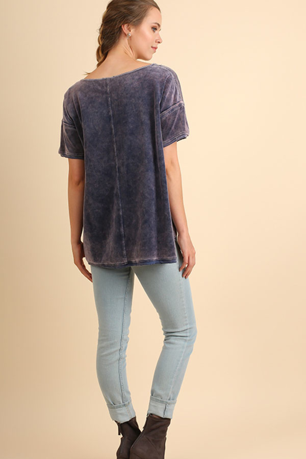 Umgee USA Velvet High Low Top - Front Full Image