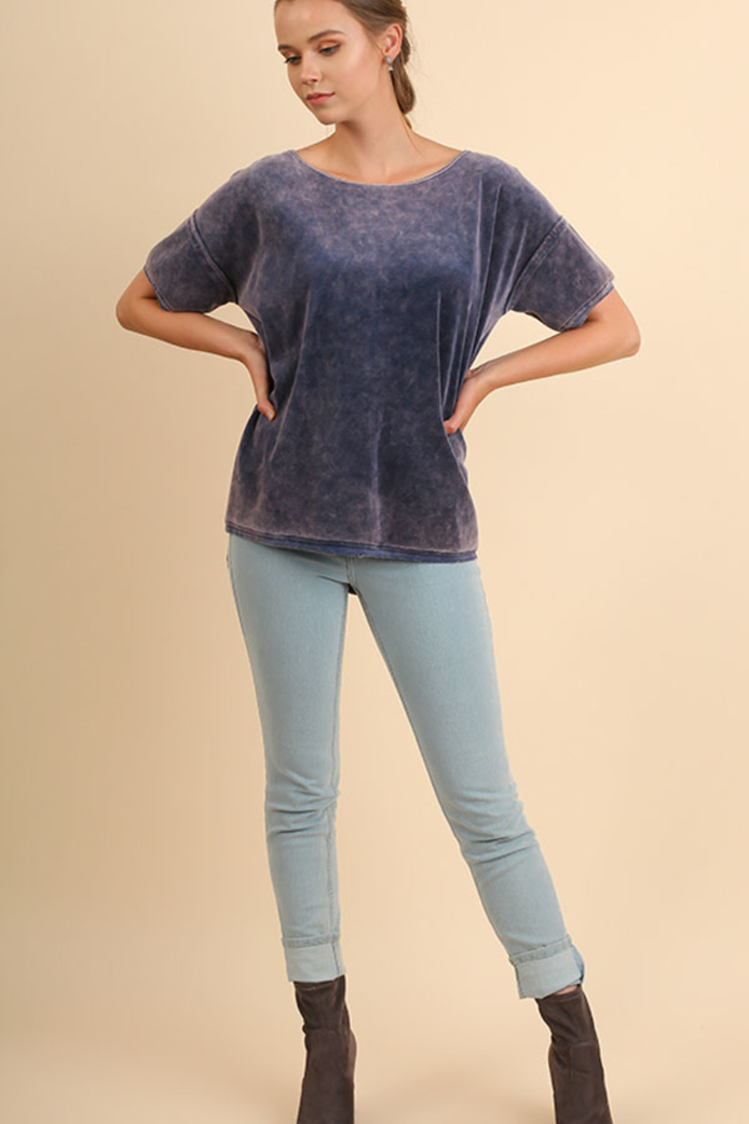 Umgee USA Velvet High Low Top - Front Cropped Image