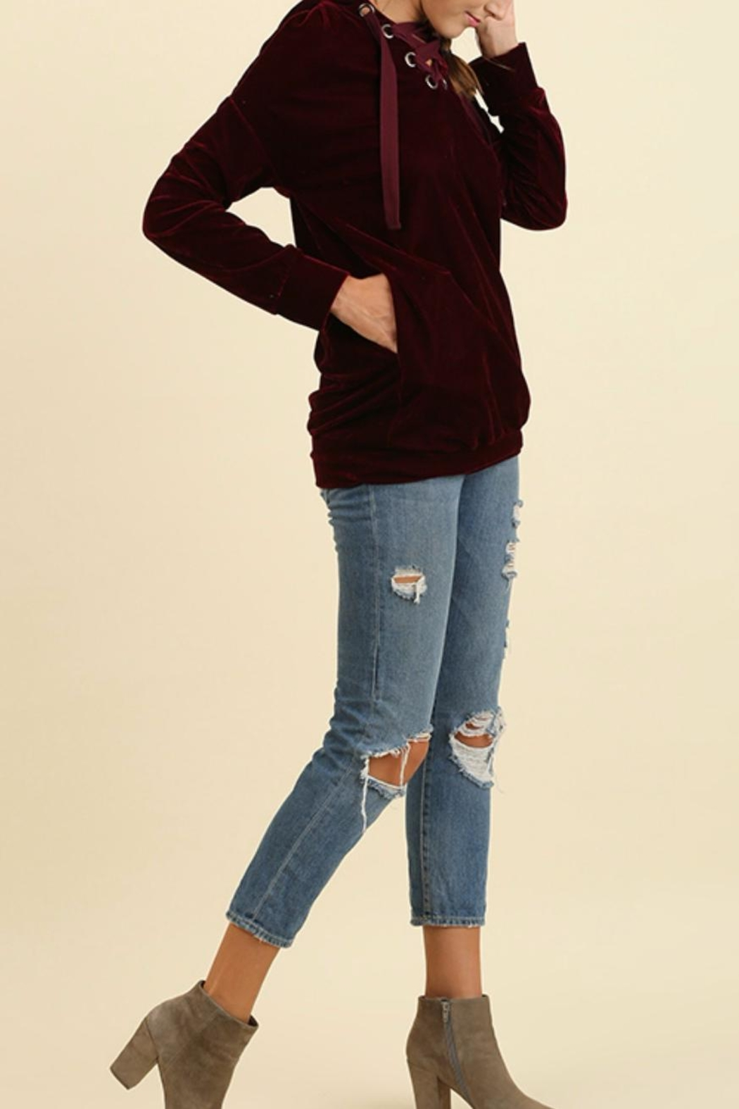 Umgee USA Velvet Laceup Hoodie - Front Full Image