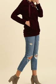 Umgee USA Velvet Laceup Hoodie - Front full body