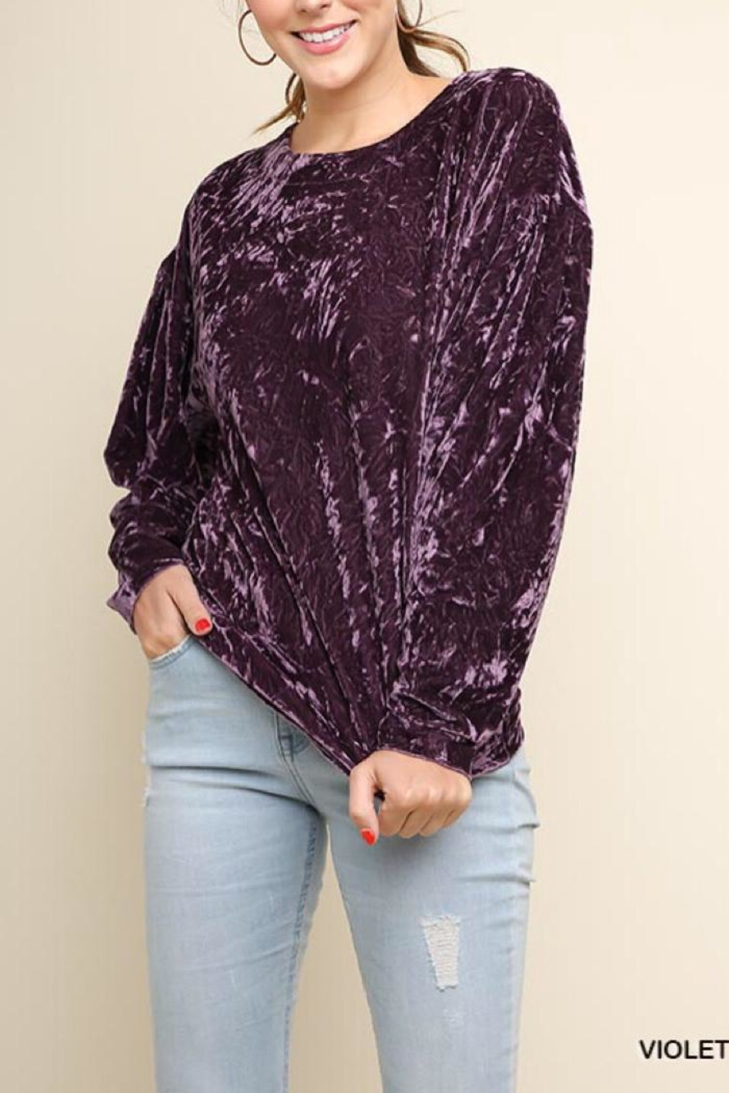 Umgee USA Crushed Velvet Top - Front Cropped Image