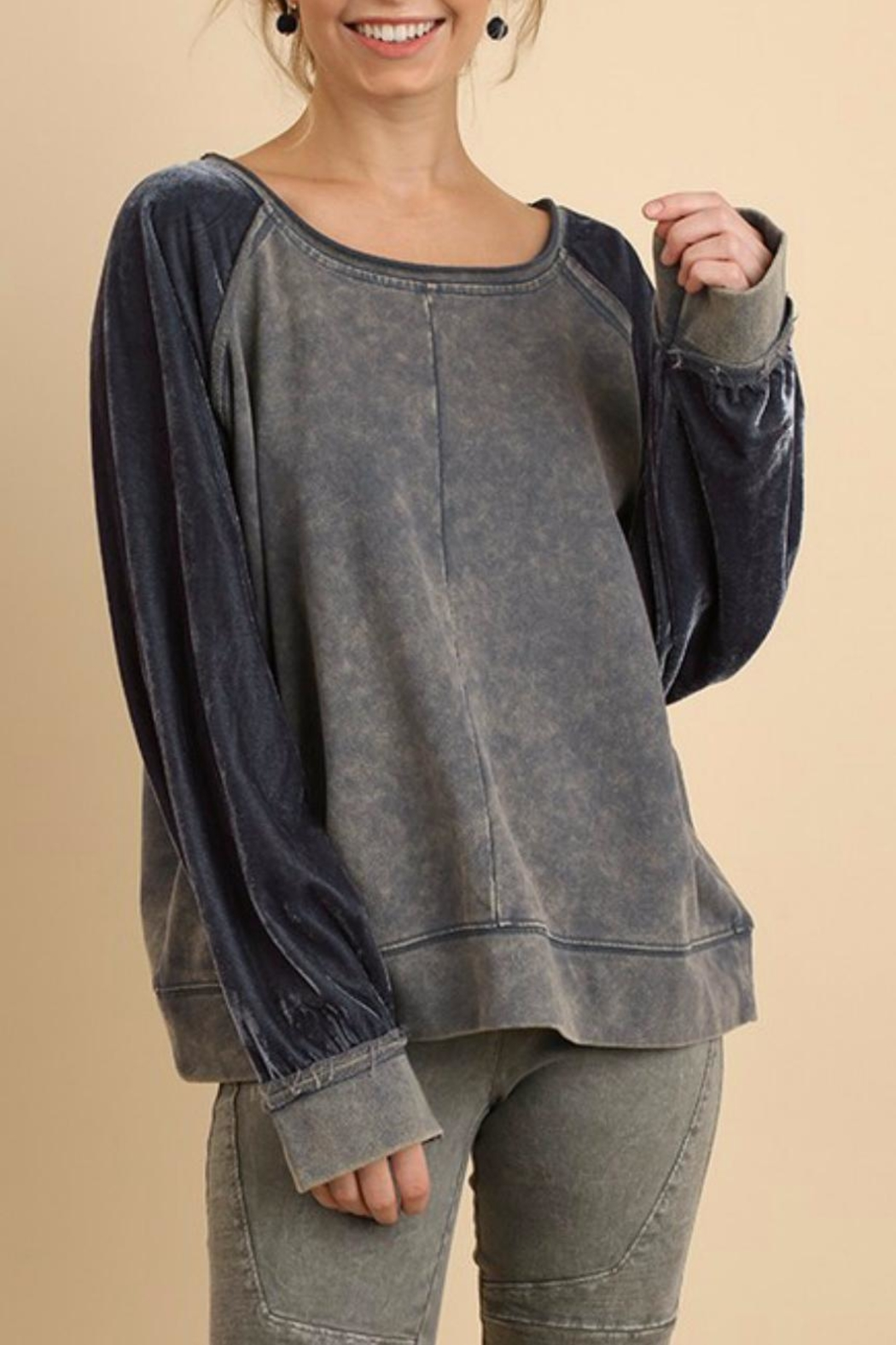 228347d96ec8a Umgee USA Velvet Sleeve Sweatshirt from Wyckoff by Bedford Basket ...