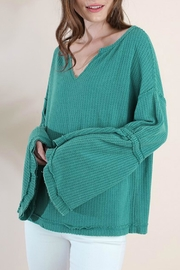 Umgee USA Waffle Knit Bell-Sleeve - Front full body