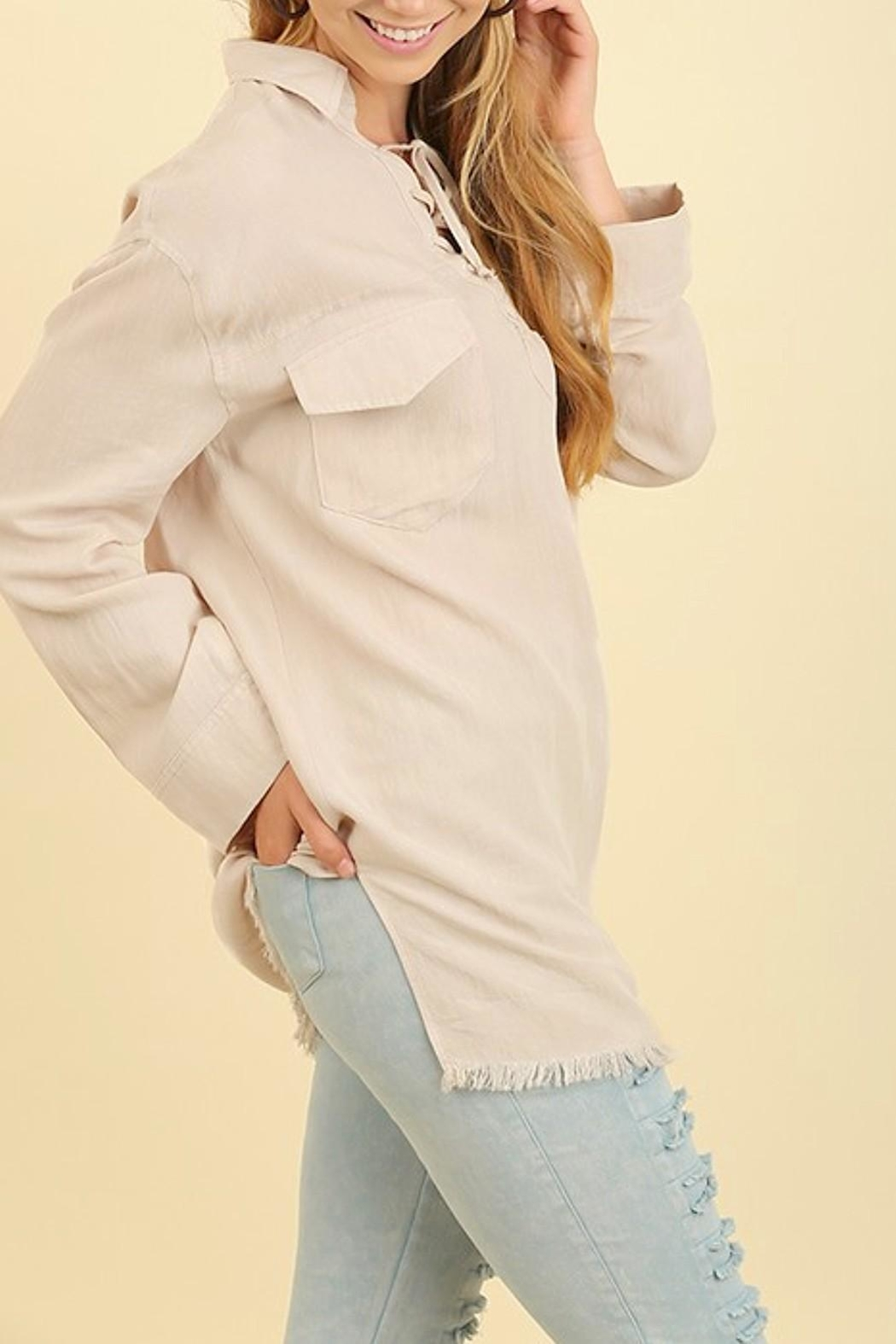Umgee USA Washed Collared Top - Front Full Image