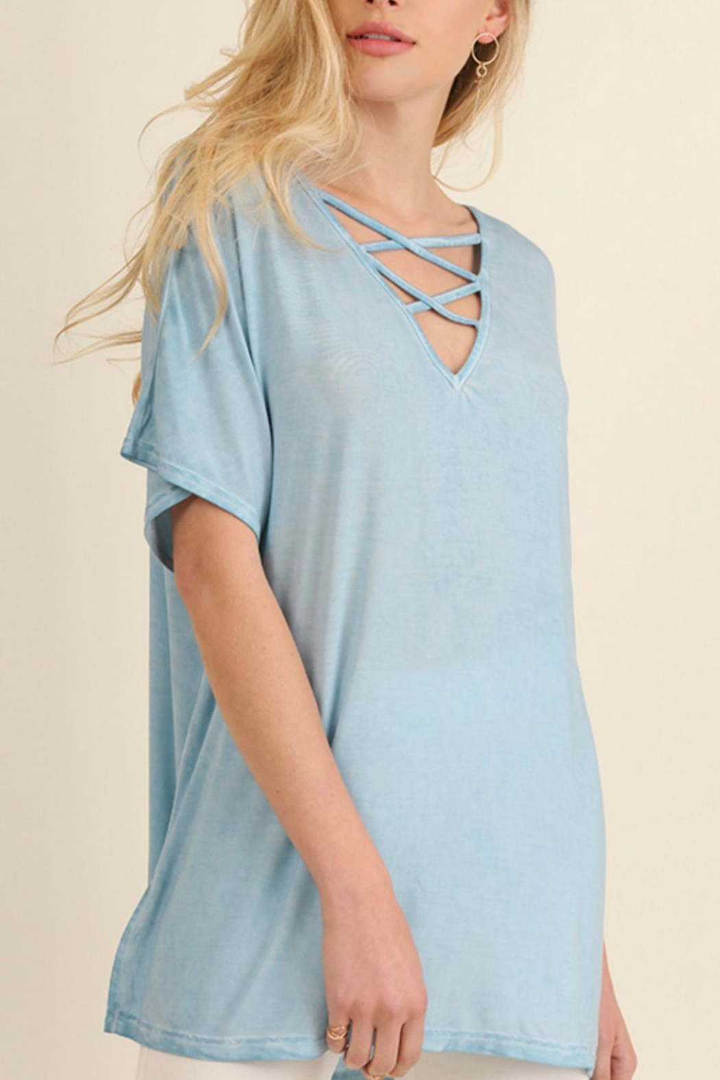 Umgee USA Washed Crisscross Top - Front Cropped Image