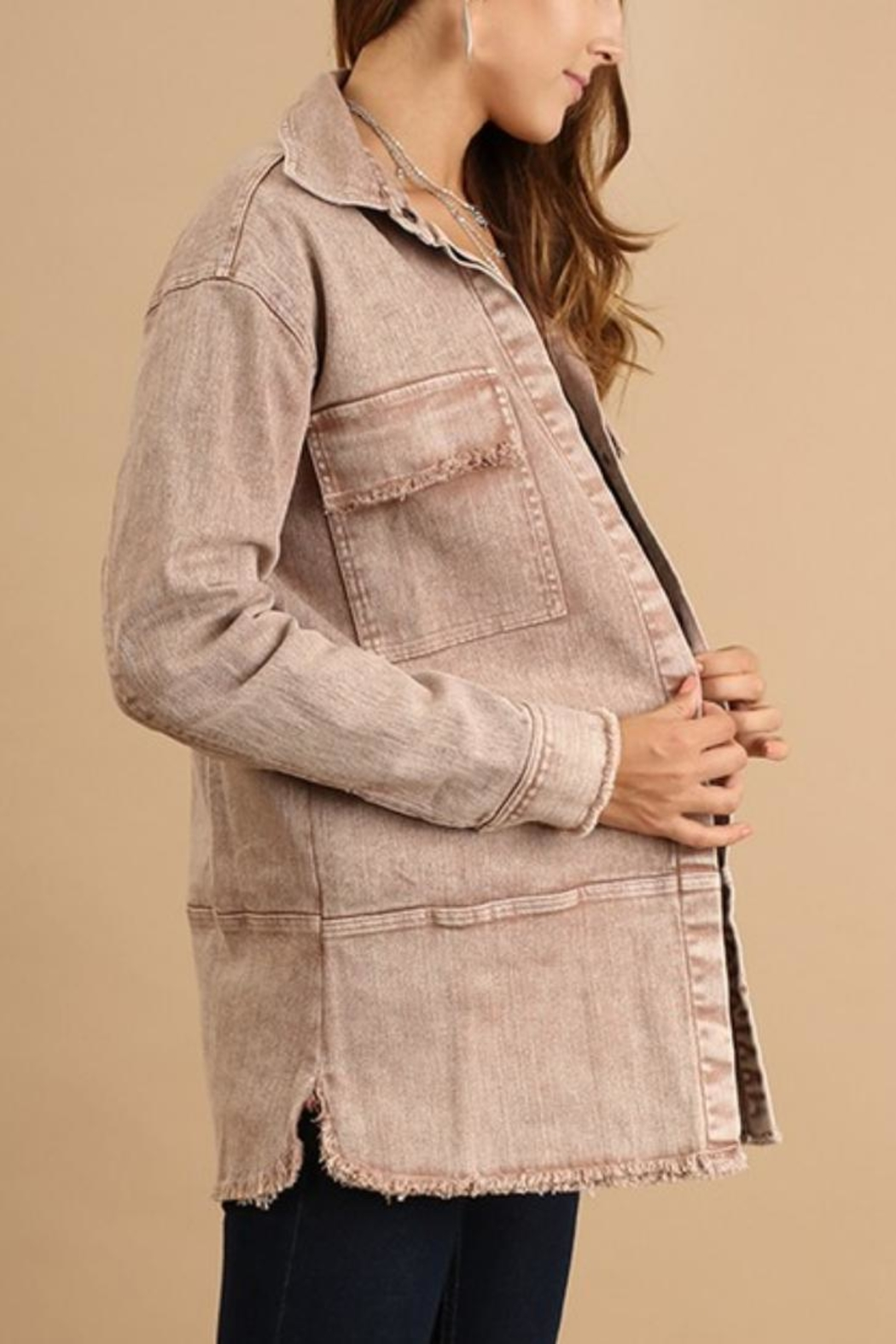Umgee USA Washed-Denim Button-Up Jacket - Front Cropped Image