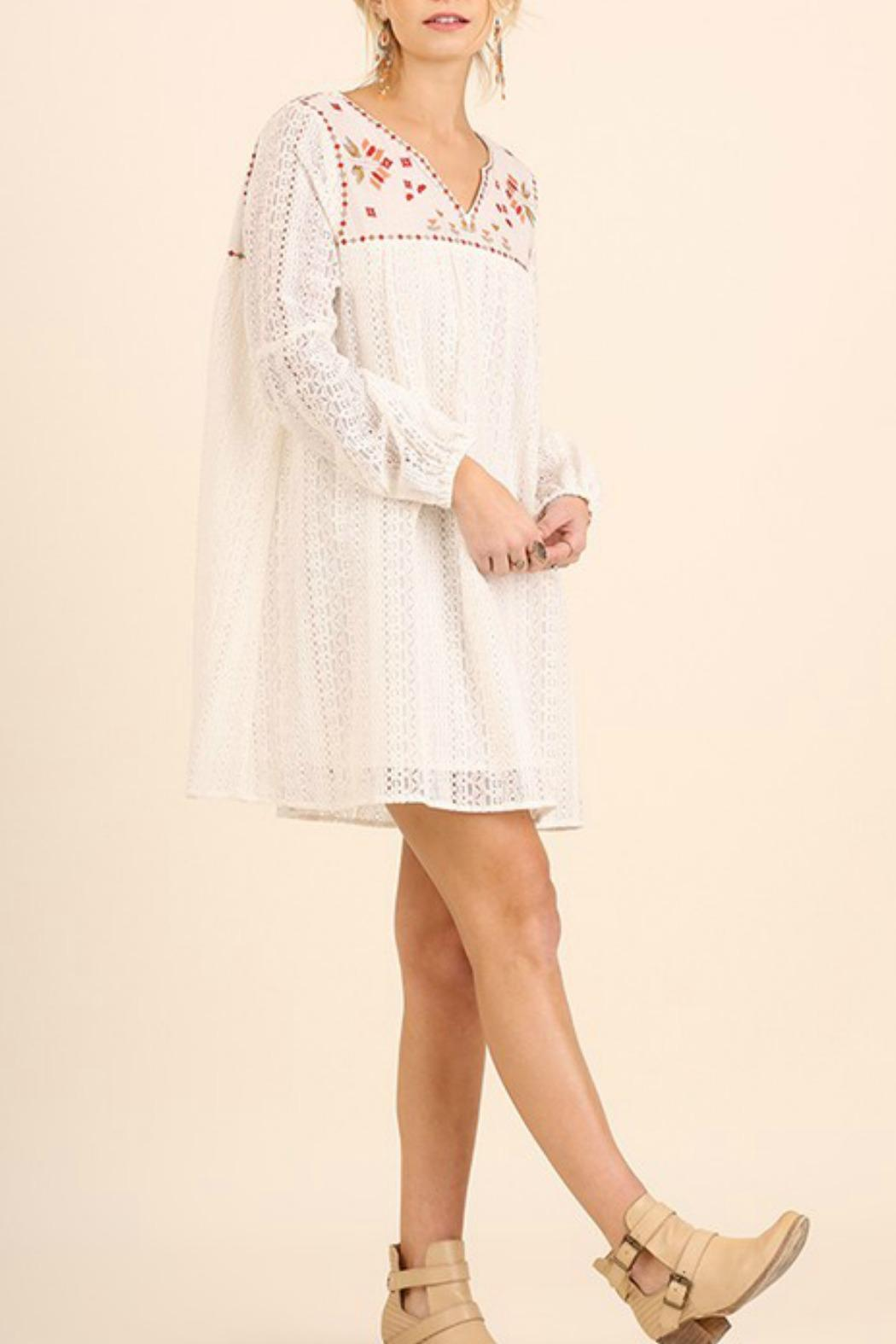 Umgee USA White Embroidered Dress - Front Full Image