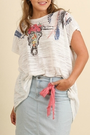 Umgee USA White Print Tunic Top - Front cropped