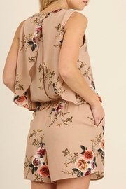 Umgee USA Floral Beige Romper - Front full body