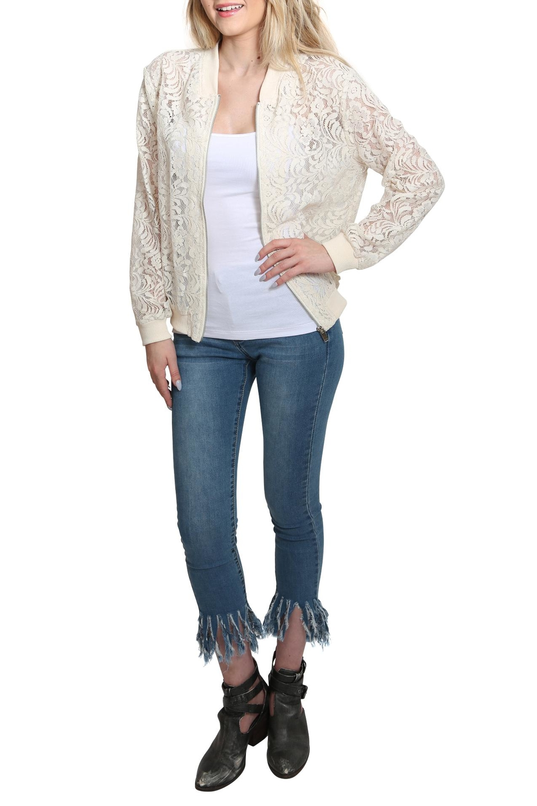 Umgee USA Zip Up Lace Bomber Jacket - Front Cropped Image